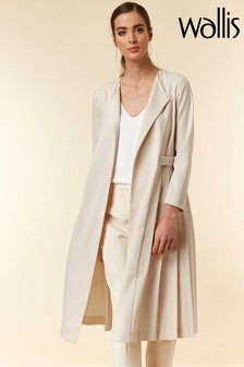Wallis Cream/Beige Pleated Duster Jacket