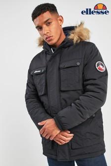 Ellesse™ Heritage Black Ampetrini Faux Fur Hooded Parka