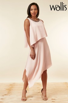 Wallis Blush Embellished Overlayer Dress