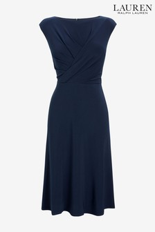 Lauren Ralph Lauren® Navy Drape Wrap Watley Dress