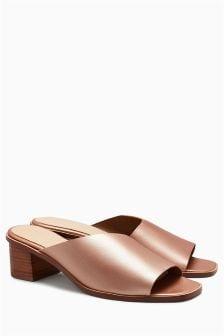 Asymmetric Leather Mules