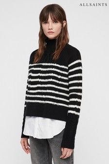All Saints Black Stripe Mari Roll Neck Jumper