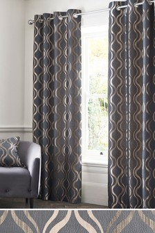 Geo Wave Jacquard Studio* Eyelet Curtains
