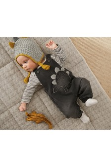 Denim Dinosaur Dungarees And Bodysuit Set (0mths-2yrs)