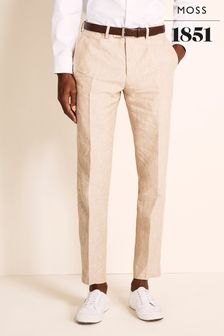 Moss 1851 Tailored Fit Stone Linen Trousers