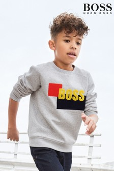 BOSS Grey Logo Crew Neck Sweater