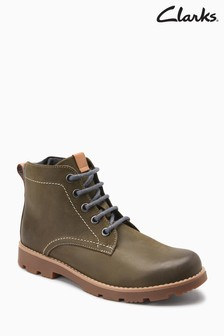 Clarks Olive Leather Comet Rock Stitch Lace-Up Ankle Boot