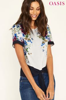 Oasis Natural Placement Floral Tie Front Tee