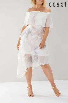 Coast White Tara Print Tiered Bardot Dress