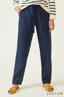 Jigsaw Blue Linen Relaxed Tape Trousers