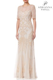 Adrianna Papell Natural Petite Beaded Long Dress
