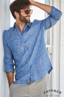 FatFace Blue Linen Plain Shirt