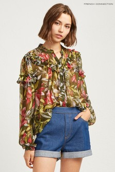 French Connection Green Floreta Crinkle Printed Blouse