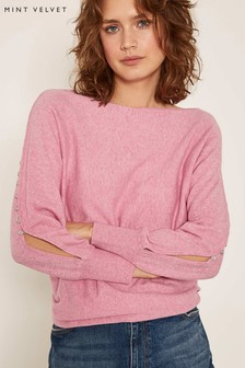 Mint Velvet Pink Rouleaux Button Detail Batwing Jumper