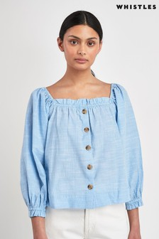 Whistles Kiara Square Neck Blouse