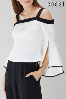 Coast White Porcia Tipped Bardot Top