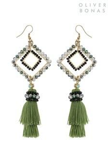 Oliver Bonas Green Zorina Beaded Drop & Tassel Earrings