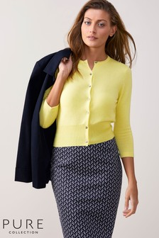 Pure Collection Yellow Cashmere Cropped Cardigan