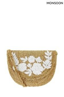 Monsoon Ladies Cream Rosalie Raffia Embroidered Saddle Bag