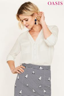 Oasis White Pintuck Viscose Shirt