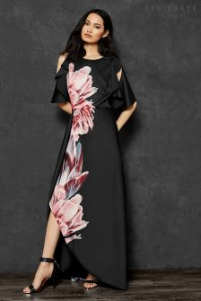 Ted Baker Ulrika Black Floral Satin Maxi Dress