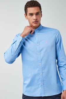 قميص أكسفورد بكم طويل تلبيس رشيق قابل للتمدد