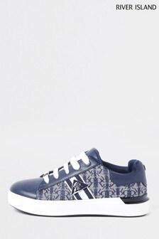 River Island Blue Monogram Jacquard Lace-Up Shoes