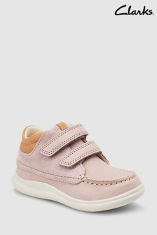 Clarks Pink Combi Leather Cloud Tuktu Velcro Straps Shoes