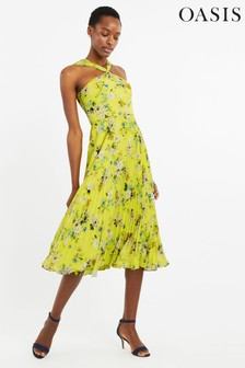 Oasis Yellow Daisy Haze Twist Neck Dress