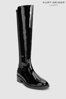 Kurt Geiger London Rayco Black Patent Stretch Back Long Boot