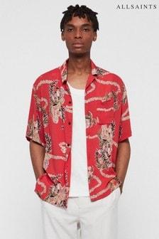 AllSaints Red Makalika Hawaiian Shirt