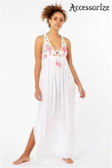 Accessorize White Scarlet Embellished Maxi Dress