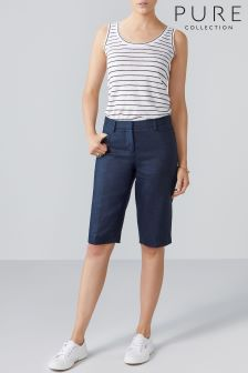 Pure Collection Blue Laundered Linen City Short