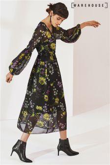 Warehouse Black Dutch Floral Chiffon Midi Dress