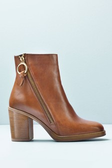 Signature Comfort Zip Detail Ankle Boots