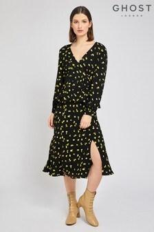 Ghost London Black Jodie Lemon Print Crepe Skirt