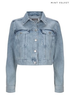 Mint Velvet Blue Cropped Acid Wash Denim Jacket