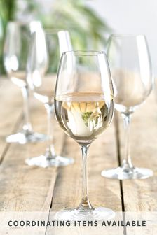 Set of 4 Crystal White Wine Glasses