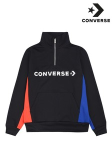 Converse Boys Black Colourblock Track Quarter Zip Sweater