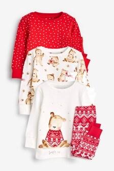 Набор пижамных комплектов с медвежатами (3 компл.) (9 мес. - 8 лет)