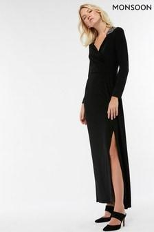 Monsoon Black Taylor Trim Shoulder Dress