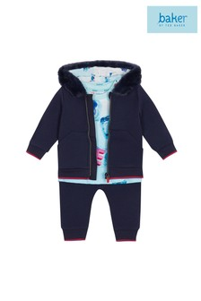 baker by Ted Baker Blue Faux Fur Hooded Sweat, T-Shirt And Jogger Set