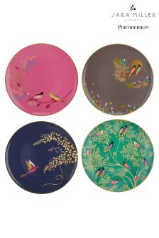 Set of 4 Sara Miller London Cake Plates