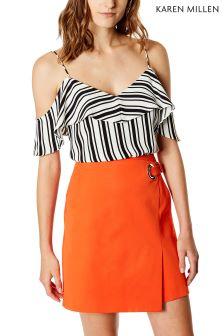 Karen Millen White Engineered Stripe Print Collection Vest