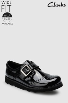 Clarks Black Patent Leather Crown Pride Brogue