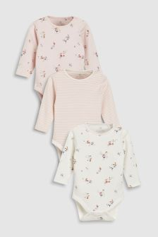 Delicate Floral Long Sleeve Bodysuits Three Pack (0mths-2yrs)