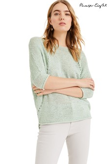 Phase Eight Green Aideen Tape Yarn Knitted Jumper