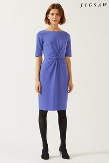 Jigsaw Blue Twisted Waist Detail Jersey Dress