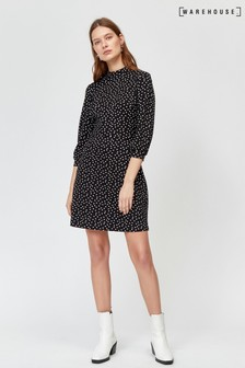 Warehouse Black Spot Balloon Sleeve Dress