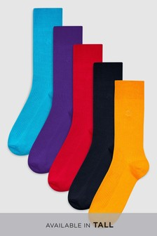 Rib N Logo Embroidered Socks Five Pack
